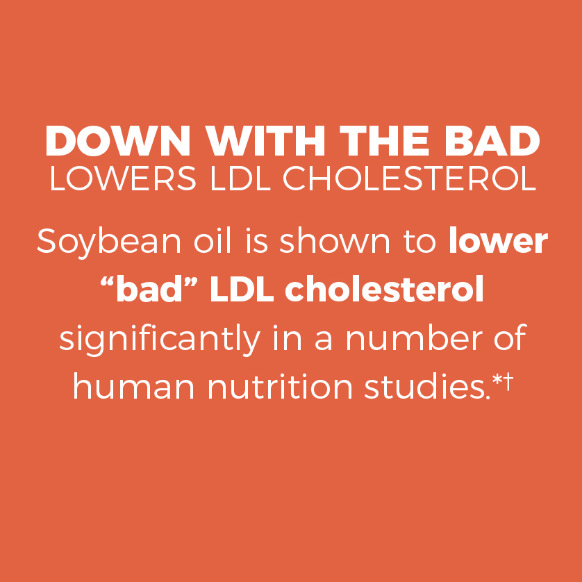 Down with the bad, lowers LDL cholesterol. Soybean oil has been shown to lower