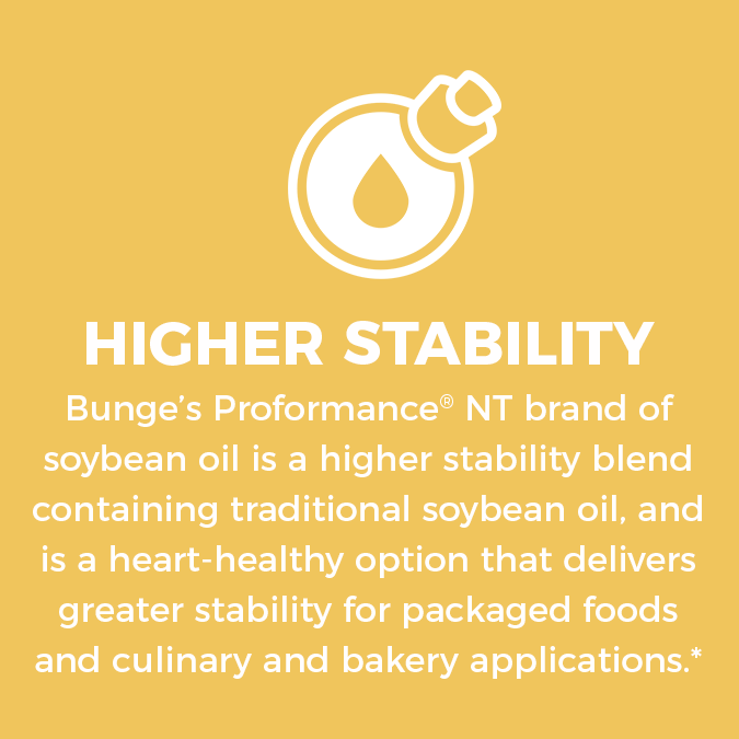Higher Stability. Bunge's Proformance brand of soybean oil (a blend of traditional soybean oil and high-oleic oil) is a heart-healthy option that also delivers a longer fry life to help optimize performance in the kitchen and elongate shelf-life for packaged foods.