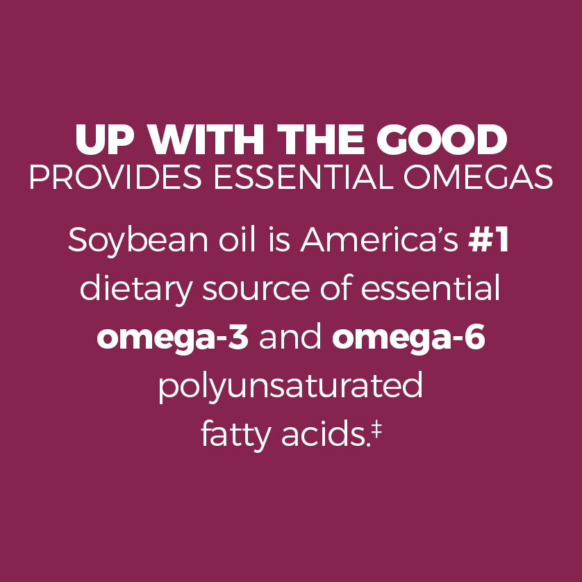 Up with the good, boosts essential omegas. Soybean oil is America's #1 dietary source of essential omega-3 and omega-6 polyunsaturated fatty acids. Polyunsaturates are the only type of fats with strong and consistent evidence for reducing the risk of coronary heart disease when eaten in place of saturated fat.